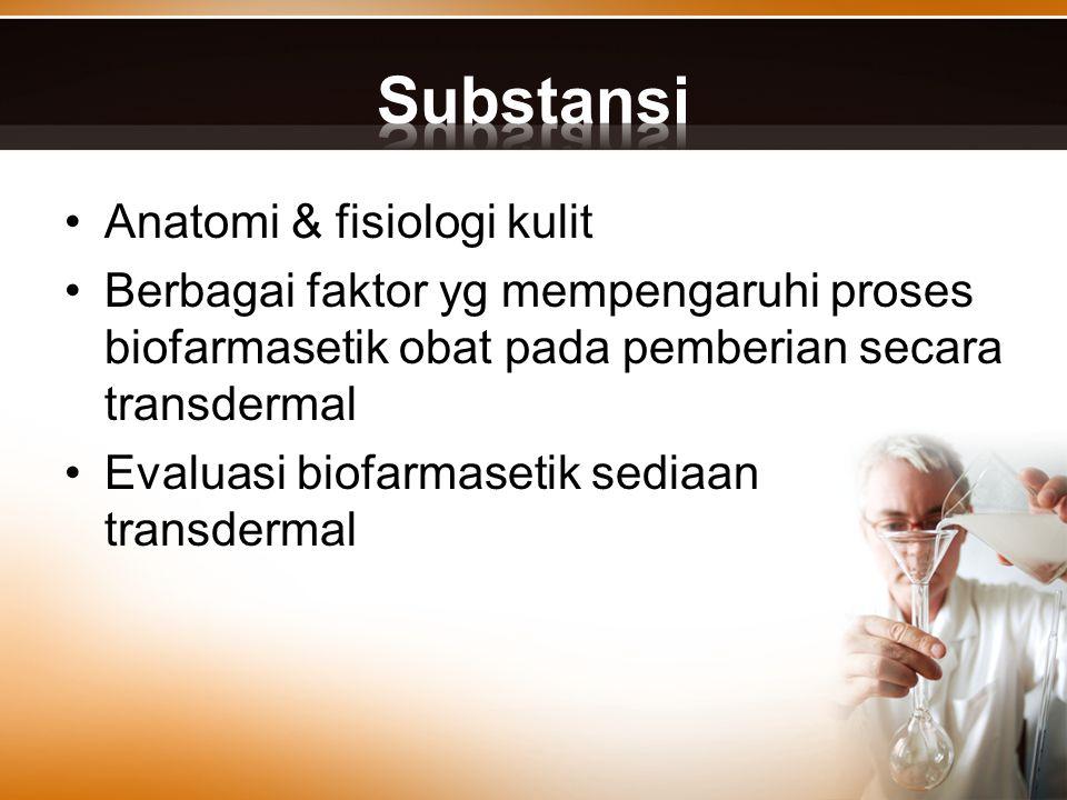 Anatomi & fisiologi kulit Berbagai faktor yg mempengaruhi proses biofarmasetik obat pada pemberian secara transdermal Evaluasi biofarmasetik sediaan t
