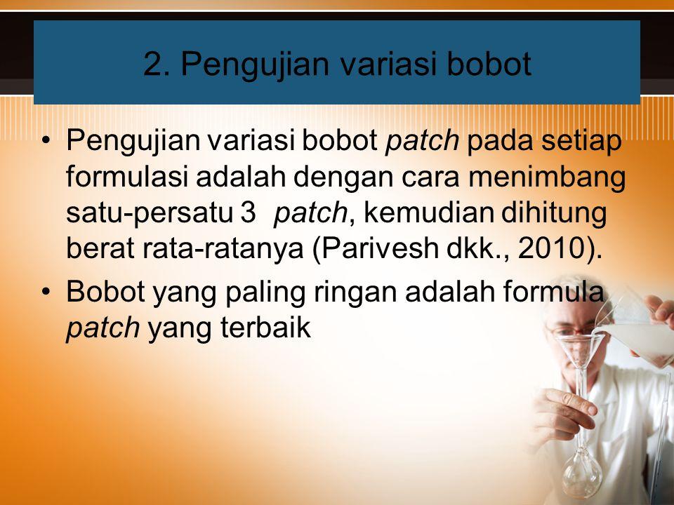 Pengujian variasi bobot patch pada setiap formulasi adalah dengan cara menimbang satu-persatu 3 patch, kemudian dihitung berat rata-ratanya (Parivesh