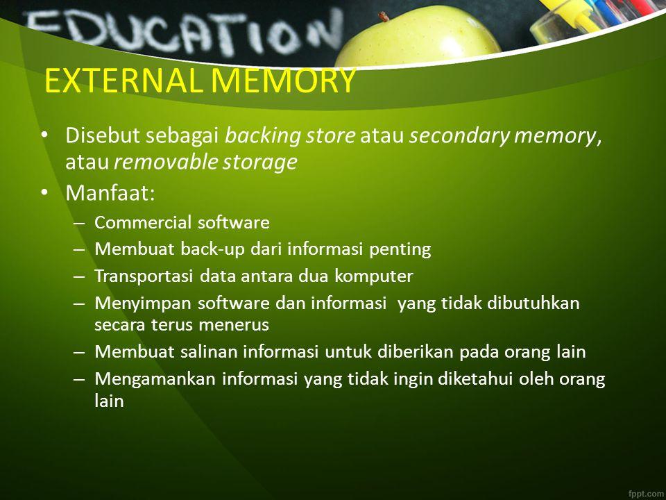 EXTERNAL MEMORY Disebut sebagai backing store atau secondary memory, atau removable storage Manfaat: – Commercial software – Membuat back-up dari info