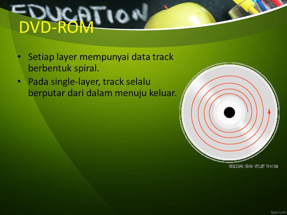 DVD-ROM Setiap layer mempunyai data track berbentuk spiral. Pada single-layer, track selalu berputar dari dalam menuju keluar.