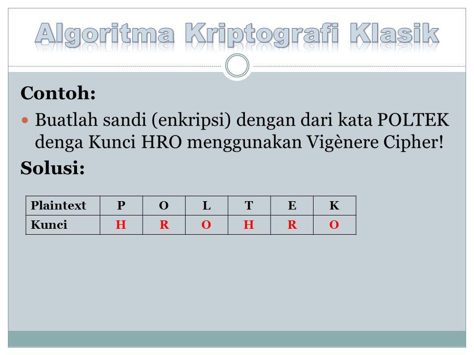 Contoh: Buatlah sandi (enkripsi) dengan dari kata POLTEK denga Kunci HRO menggunakan Vigènere Cipher.