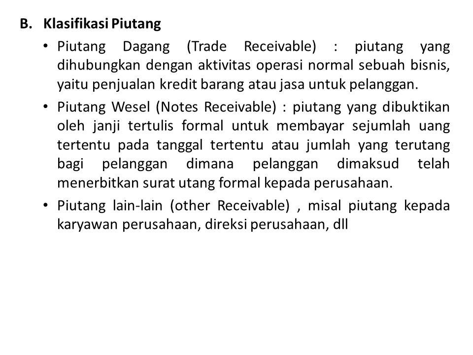 B.Klasifikasi Piutang Piutang Dagang (Trade Receivable) : piutang yang dihubungkan dengan aktivitas operasi normal sebuah bisnis, yaitu penjualan kred
