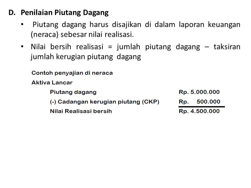 D. Penilaian Piutang Dagang Piutang dagang harus disajikan di dalam laporan keuangan (neraca) sebesar nilai realisasi. Nilai bersih realisasi = jumlah
