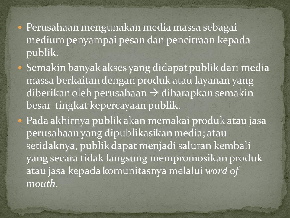 Perusahaan mengunakan media massa sebagai medium penyampai pesan dan pencitraan kepada publik. Semakin banyak akses yang didapat publik dari media mas
