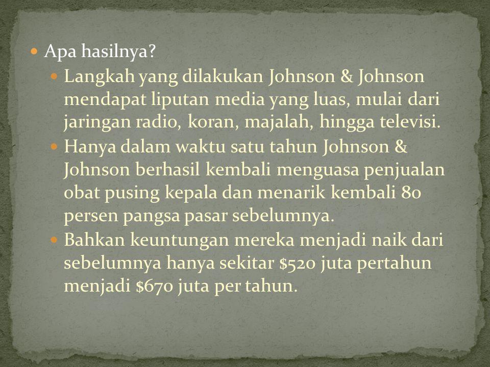 Apa hasilnya? Langkah yang dilakukan Johnson & Johnson mendapat liputan media yang luas, mulai dari jaringan radio, koran, majalah, hingga televisi. H