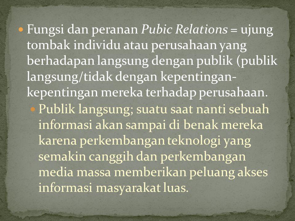 Fungsi dan peranan Pubic Relations = ujung tombak individu atau perusahaan yang berhadapan langsung dengan publik (publik langsung/tidak dengan kepent