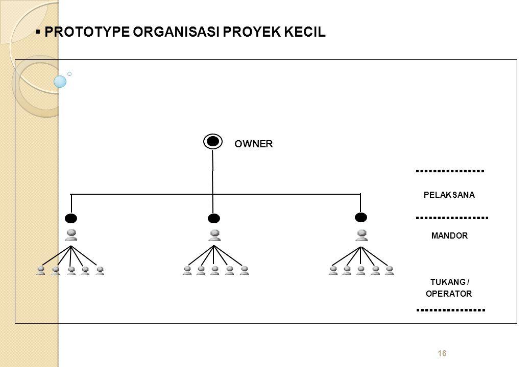 16  PROTOTYPE ORGANISASI PROYEK KECIL MANDOR TUKANG / OPERATOR PELAKSANA OWNER