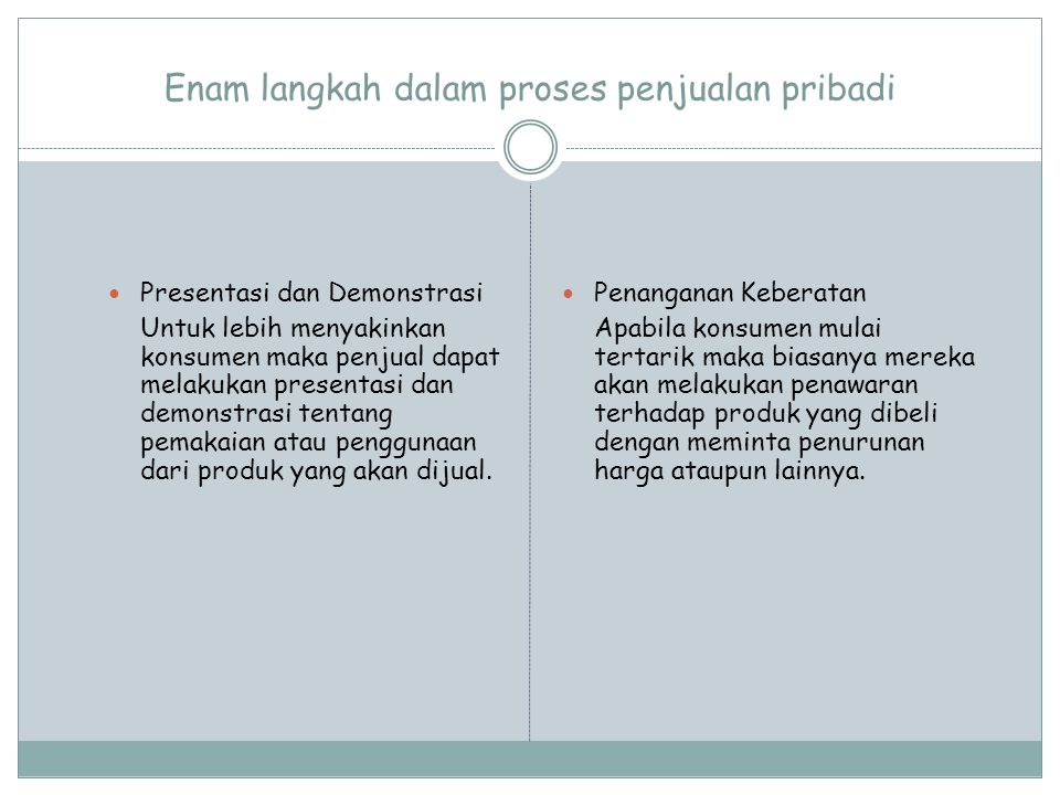 Enam langkah dalam proses penjualan pribadi Presentasi dan Demonstrasi Untuk lebih menyakinkan konsumen maka penjual dapat melakukan presentasi dan de
