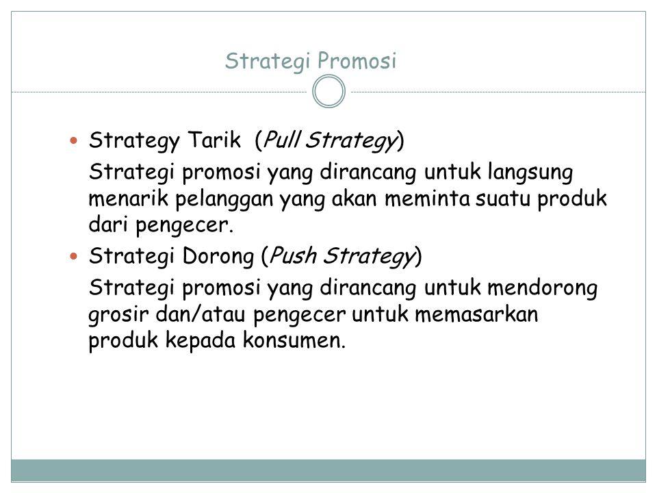 Strategi Promosi Strategy Tarik (Pull Strategy) Strategi promosi yang dirancang untuk langsung menarik pelanggan yang akan meminta suatu produk dari p