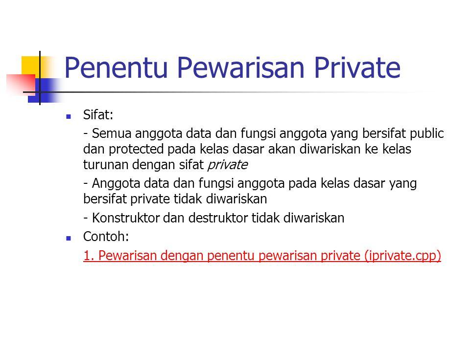 Penentu Pewarisan Protected Sintaks: class NamaKelasTurunan : Protected NamaKelasDasar Contoh: class OrangTua { … }; class Anak : Portected OrangTua { … };