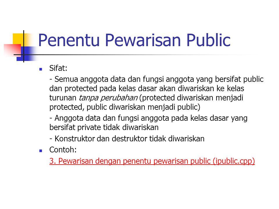 Penentu Pewarisan Public Sifat: - Semua anggota data dan fungsi anggota yang bersifat public dan protected pada kelas dasar akan diwariskan ke kelas t