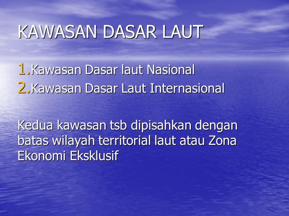 KAWASAN DASAR LAUT 1. Kawasan Dasar laut Nasional 2. Kawasan Dasar Laut Internasional Kedua kawasan tsb dipisahkan dengan batas wilayah territorial la