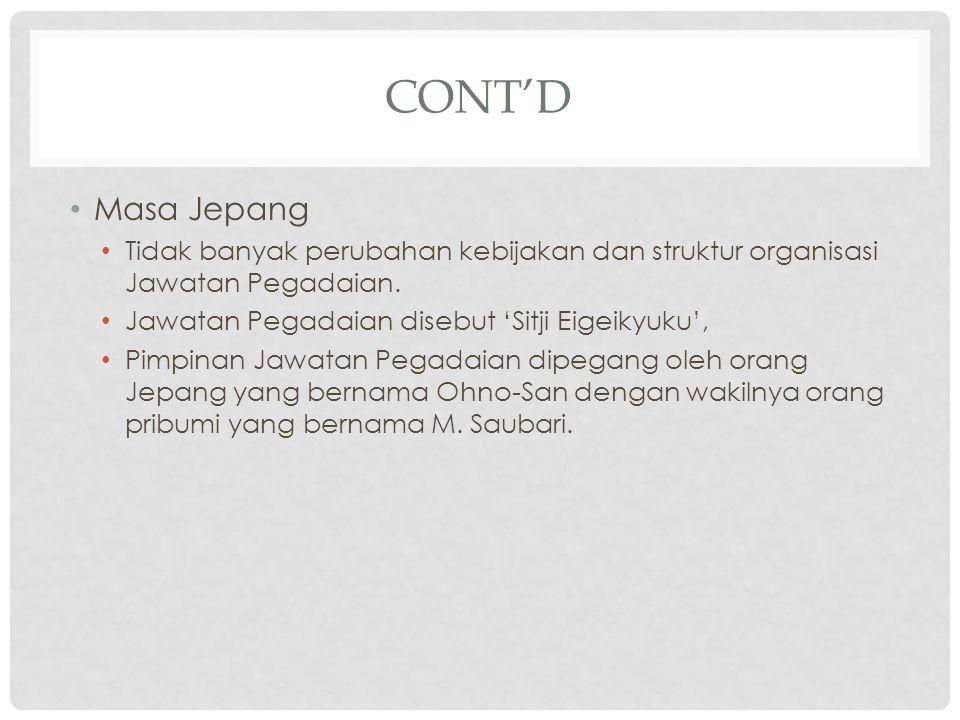 MASA INDONESIA MERDEKA Status Pegadaian mengalami beberapa kali perubahan, yaitu Perusahaan Negara (PN) sejak 1 Januari 1961, Perusahaan Jawatan (Perjan) berdasarkan PP No.7/1969 Perusahaan Umum (Perum) berdasarkan PP No.10/1990 diperbaharui dengan PP No.103/2000) Perseroan berdasarkan PP No.51/2011