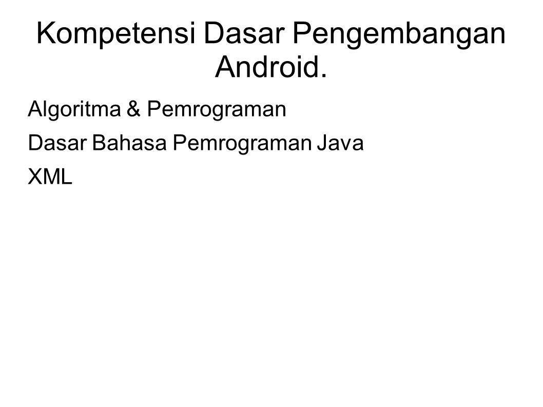 Kompetensi Dasar Pengembangan Android. Algoritma & Pemrograman Dasar Bahasa Pemrograman Java XML