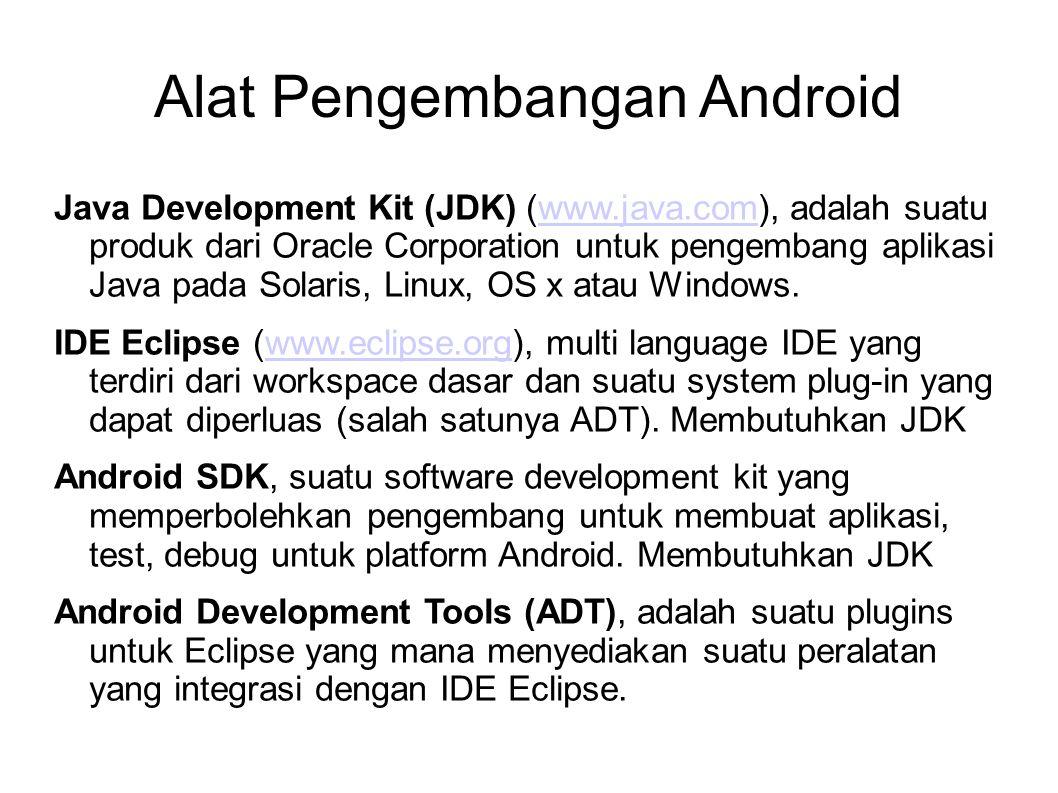 Alat Pengembangan Android Java Development Kit (JDK) (www.java.com), adalah suatu produk dari Oracle Corporation untuk pengembang aplikasi Java pada Solaris, Linux, OS x atau Windows.www.java.com IDE Eclipse (www.eclipse.org), multi language IDE yang terdiri dari workspace dasar dan suatu system plug-in yang dapat diperluas (salah satunya ADT).
