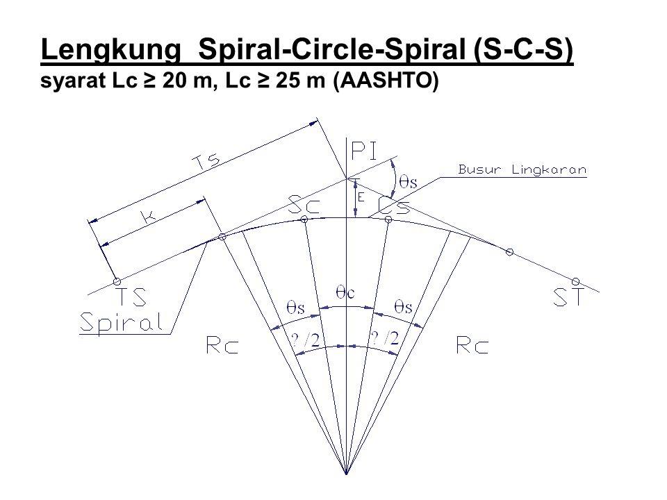 Lengkung Spiral-Circle-Spiral (S-C-S) syarat Lc ≥ 20 m, Lc ≥ 25 m (AASHTO)
