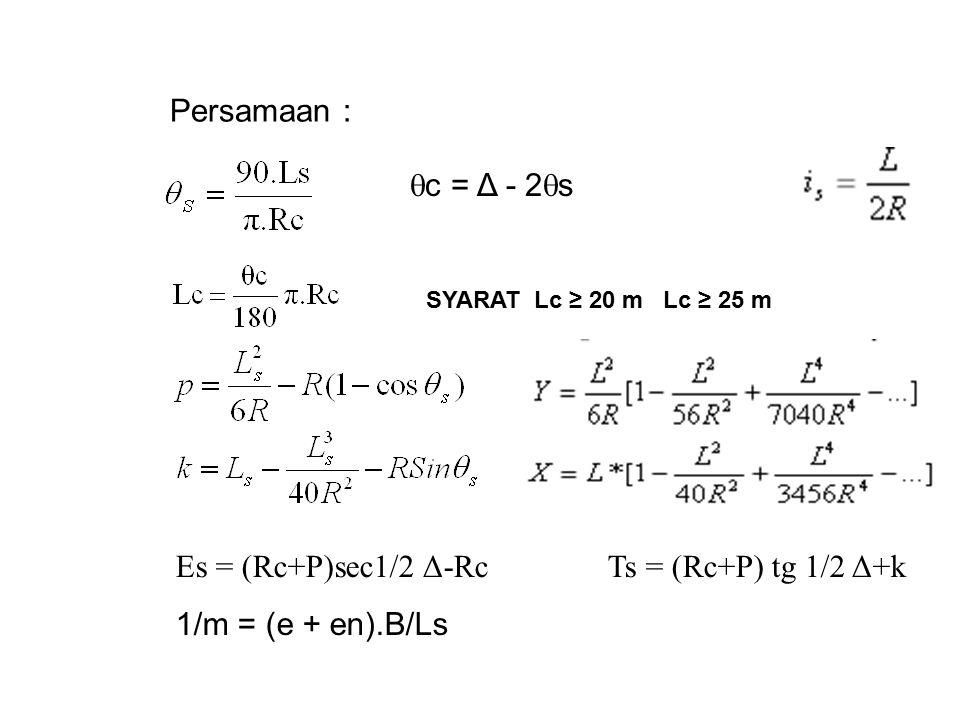 Persamaan : Es = (Rc+P)sec1/2 Δ-RcTs = (Rc+P) tg 1/2 Δ+k 1/m = (e + en).B/Ls  c = Δ - 2  s SYARAT Lc ≥ 20 m Lc ≥ 25 m