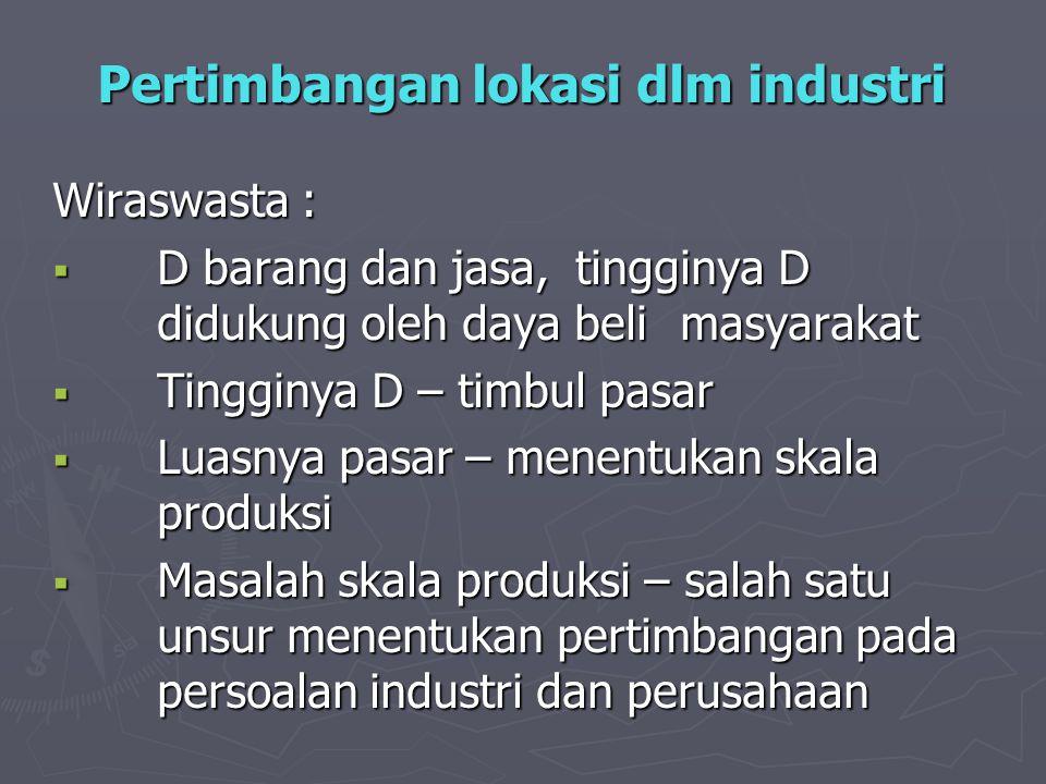 Pertimbangan lokasi dlm industri Wiraswasta :  D barang dan jasa, tingginya D didukung oleh daya beli masyarakat  Tingginya D – timbul pasar  Luasn