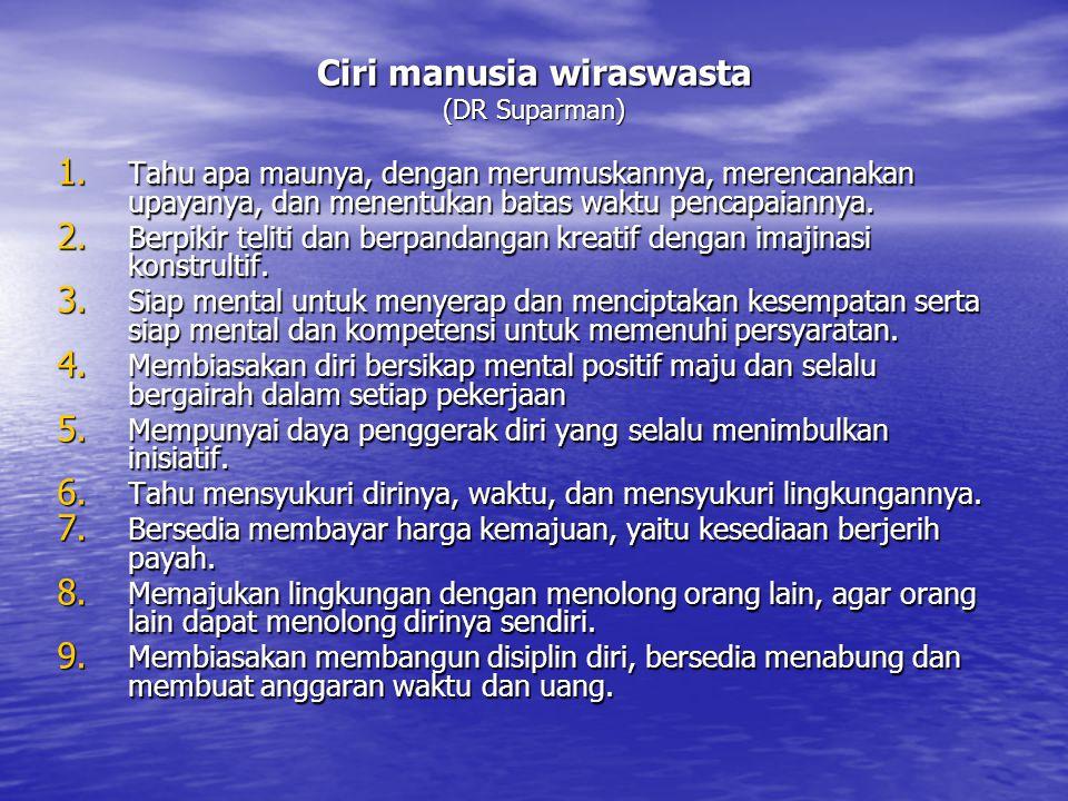 Ciri manusia wiraswasta (DR Suparman) 1. Tahu apa maunya, dengan merumuskannya, merencanakan upayanya, dan menentukan batas waktu pencapaiannya. 2. Be
