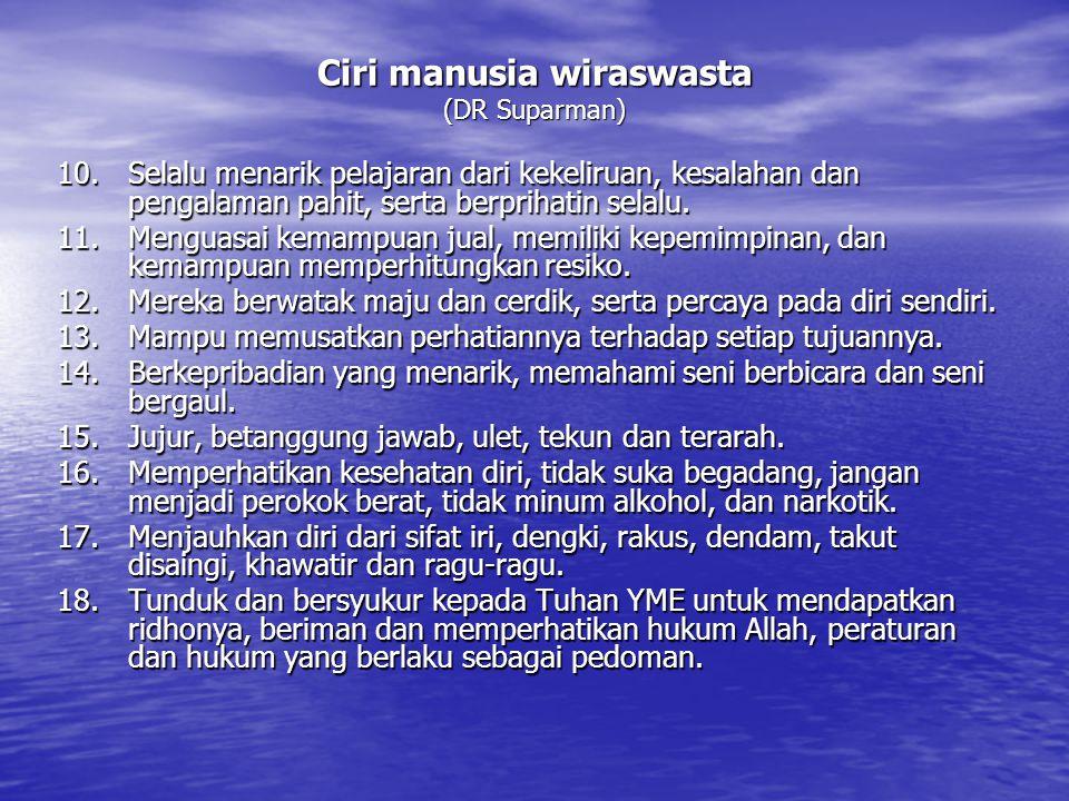Ciri manusia wiraswasta (DR Suparman) 10.Selalu menarik pelajaran dari kekeliruan, kesalahan dan pengalaman pahit, serta berprihatin selalu. 11.Mengua