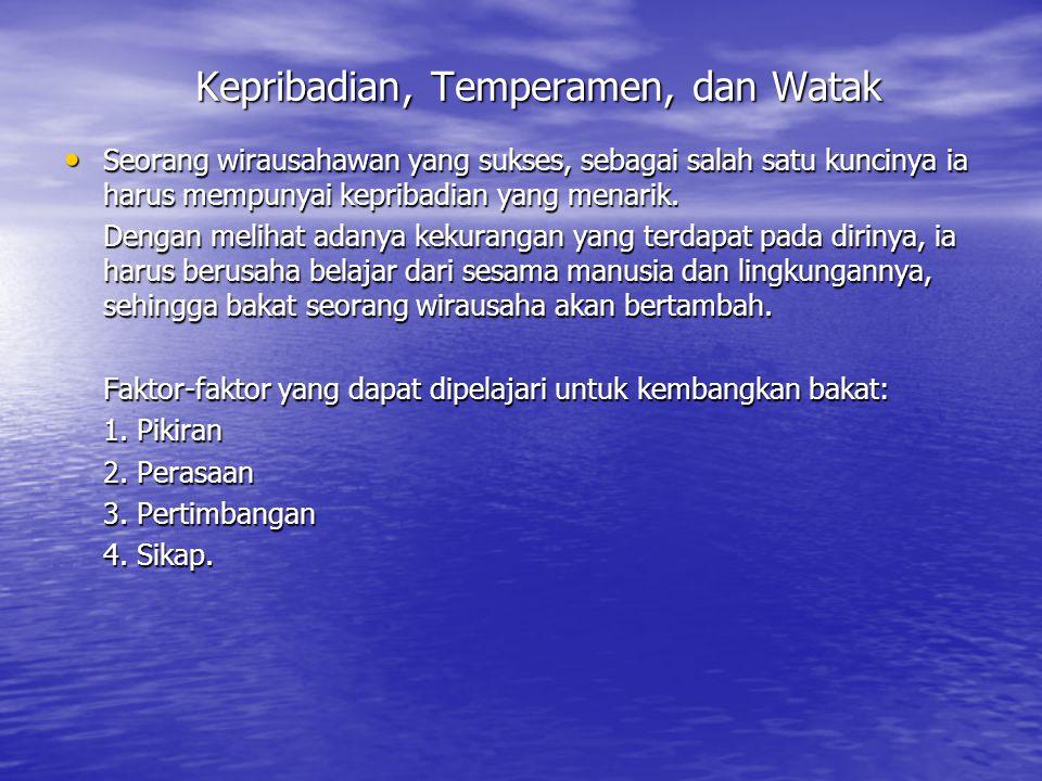 Kepribadian, Temperamen, dan Watak Seorang wirausahawan yang sukses, sebagai salah satu kuncinya ia harus mempunyai kepribadian yang menarik.