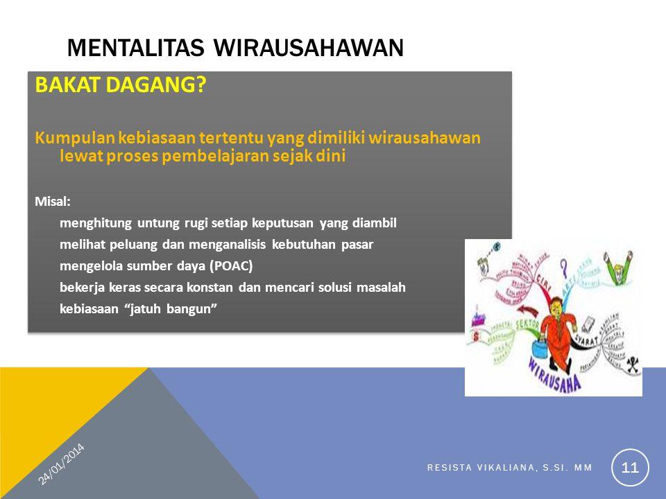 MENTALITAS WIRAUSAHAWAN BAKAT DAGANG.