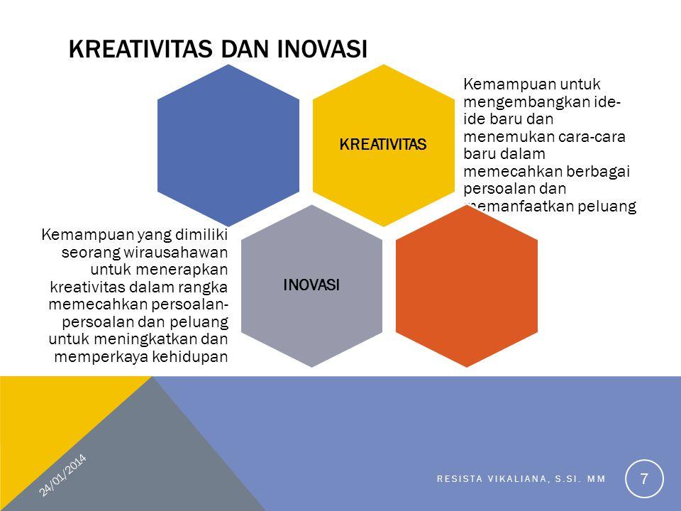 KREATIVITAS DAN INOVASI KREATIVITAS Kemampuan untuk mengembangkan ide- ide baru dan menemukan cara-cara baru dalam memecahkan berbagai persoalan dan memanfaatkan peluang INOVASI Kemampuan yang dimiliki seorang wirausahawan untuk menerapkan kreativitas dalam rangka memecahkan persoalan- persoalan dan peluang untuk meningkatkan dan memperkaya kehidupan 24/01/2014 RESISTA VIKALIANA, S.SI.