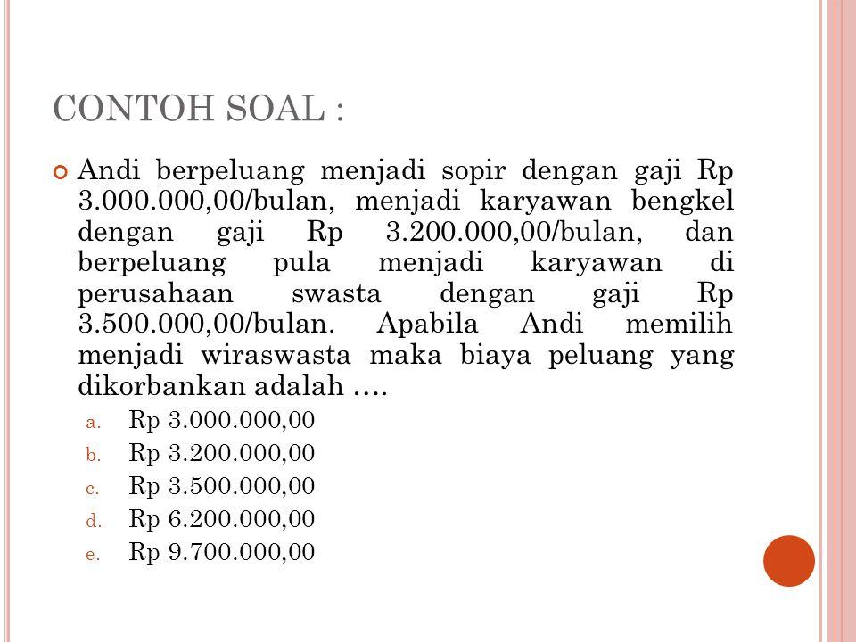 CONTOH SOAL : Andi berpeluang menjadi sopir dengan gaji Rp 3.000.000,00/bulan, menjadi karyawan bengkel dengan gaji Rp 3.200.000,00/bulan, dan berpelu