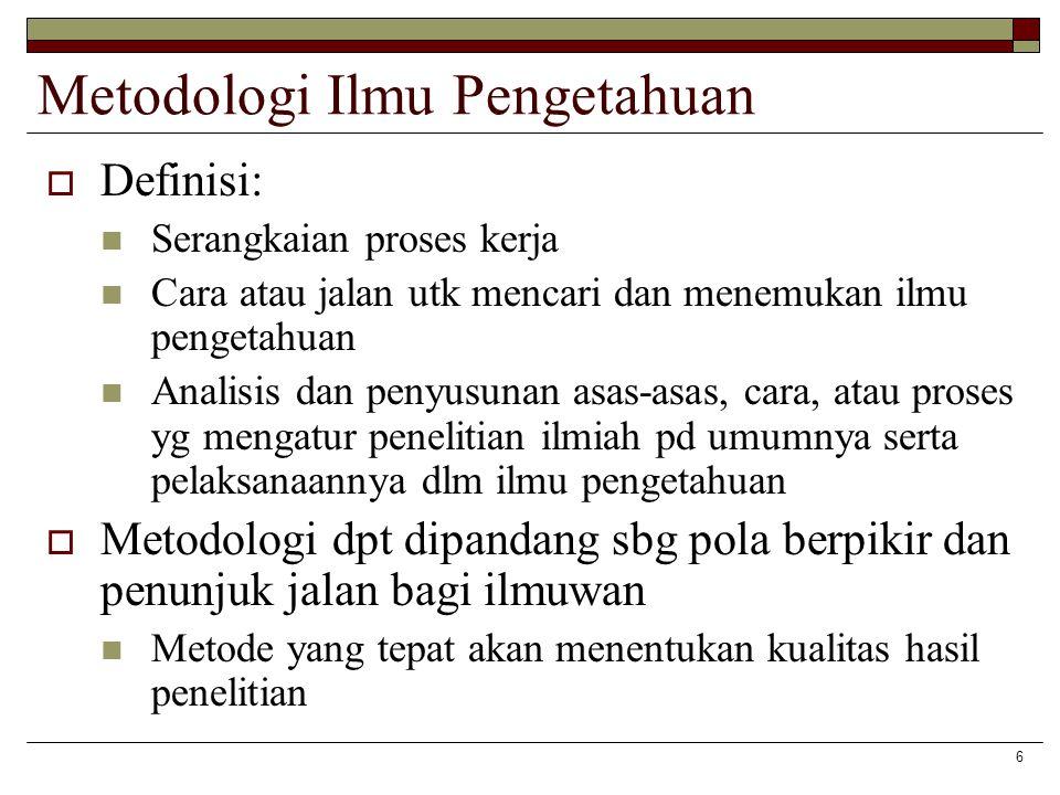 6 Metodologi Ilmu Pengetahuan  Definisi: Serangkaian proses kerja Cara atau jalan utk mencari dan menemukan ilmu pengetahuan Analisis dan penyusunan