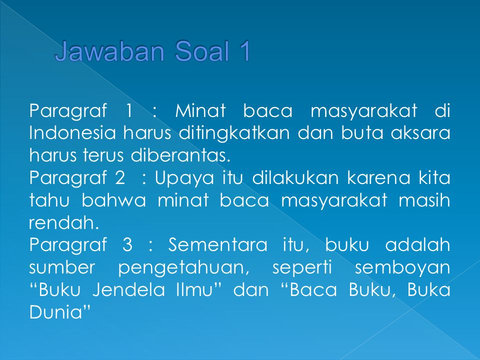 Paragraf 1 : Minat baca masyarakat di Indonesia harus ditingkatkan dan buta aksara harus terus diberantas. Paragraf 2 : Upaya itu dilakukan karena kit