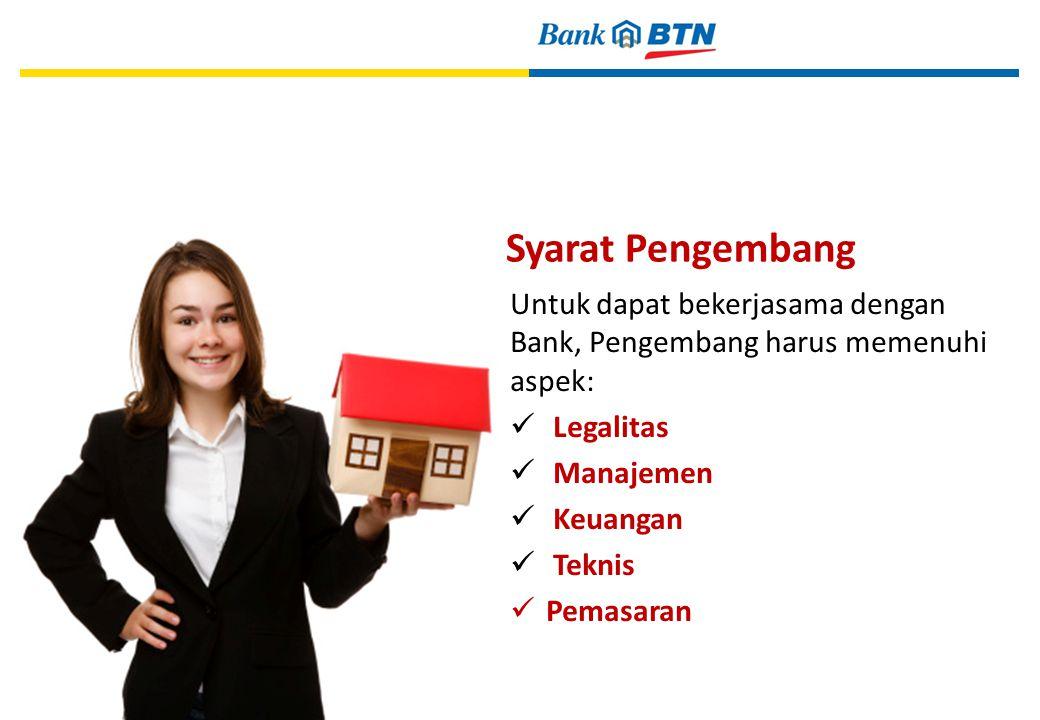 Syarat Pengembang Untuk dapat bekerjasama dengan Bank, Pengembang harus memenuhi aspek: Legalitas Manajemen Keuangan Teknis Pemasaran 19