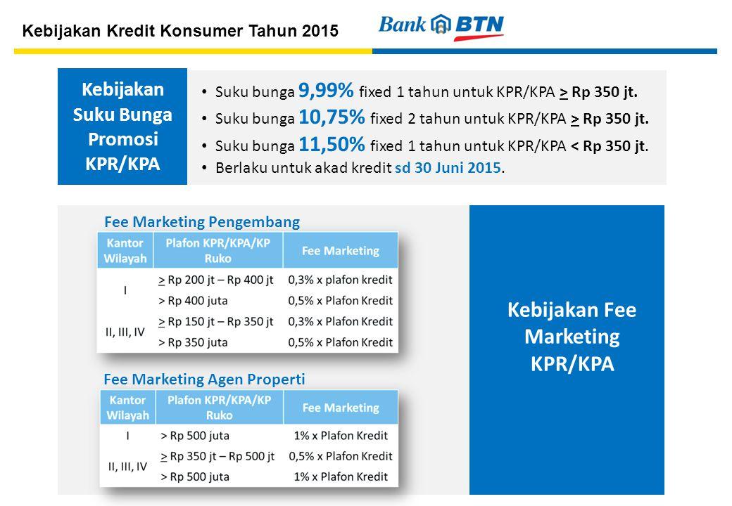 Kebijakan Suku Bunga Promosi KPR/KPA Suku bunga 9,99% fixed 1 tahun untuk KPR/KPA > Rp 350 jt.