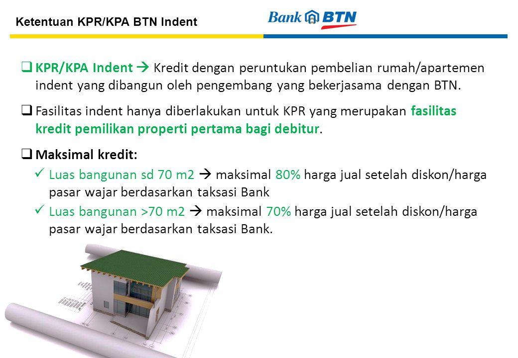 8  KPR/KPA Indent  Kredit dengan peruntukan pembelian rumah/apartemen indent yang dibangun oleh pengembang yang bekerjasama dengan BTN.