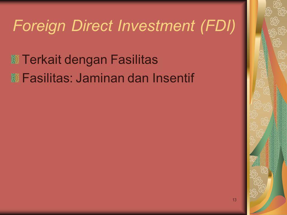13 Foreign Direct Investment (FDI) Terkait dengan Fasilitas Fasilitas: Jaminan dan Insentif