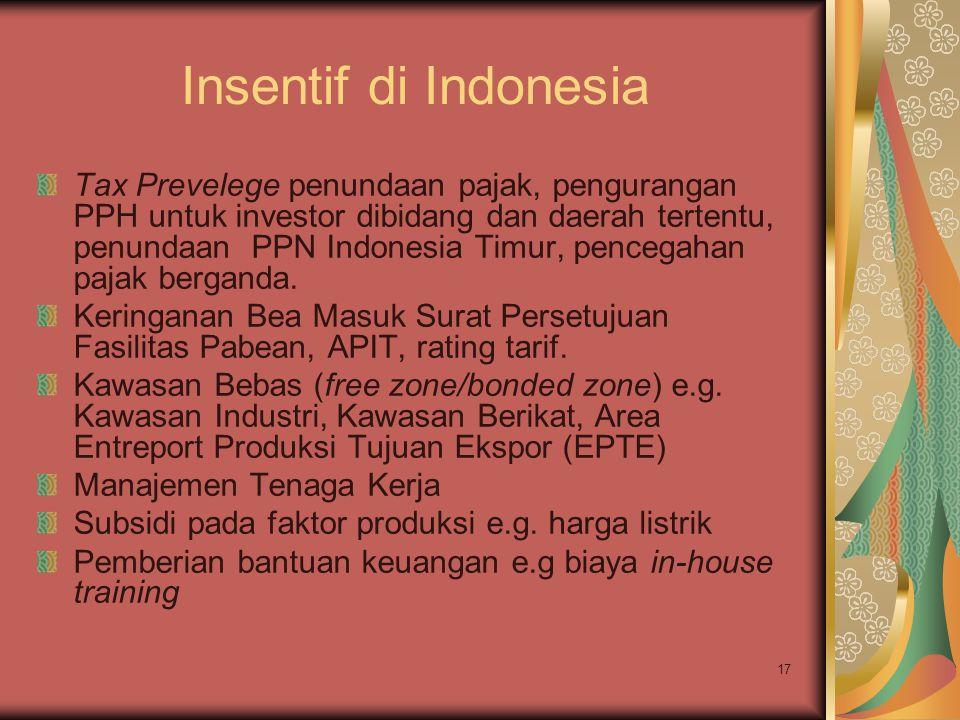 17 Insentif di Indonesia Tax Prevelege penundaan pajak, pengurangan PPH untuk investor dibidang dan daerah tertentu, penundaan PPN Indonesia Timur, pencegahan pajak berganda.