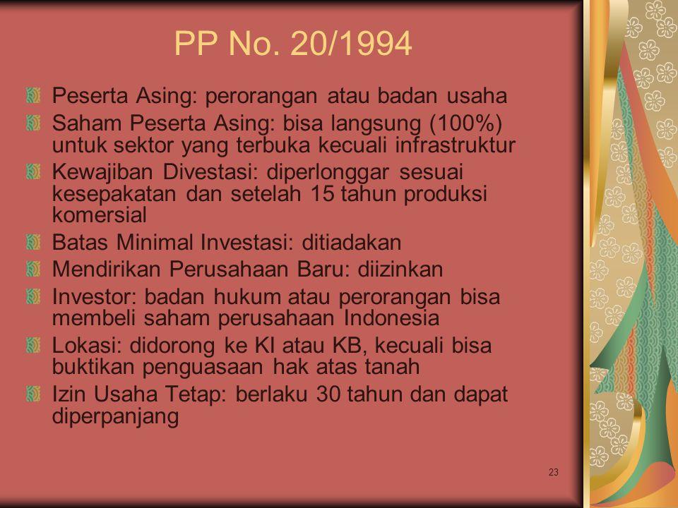23 PP No. 20/1994 Peserta Asing: perorangan atau badan usaha Saham Peserta Asing: bisa langsung (100%) untuk sektor yang terbuka kecuali infrastruktur