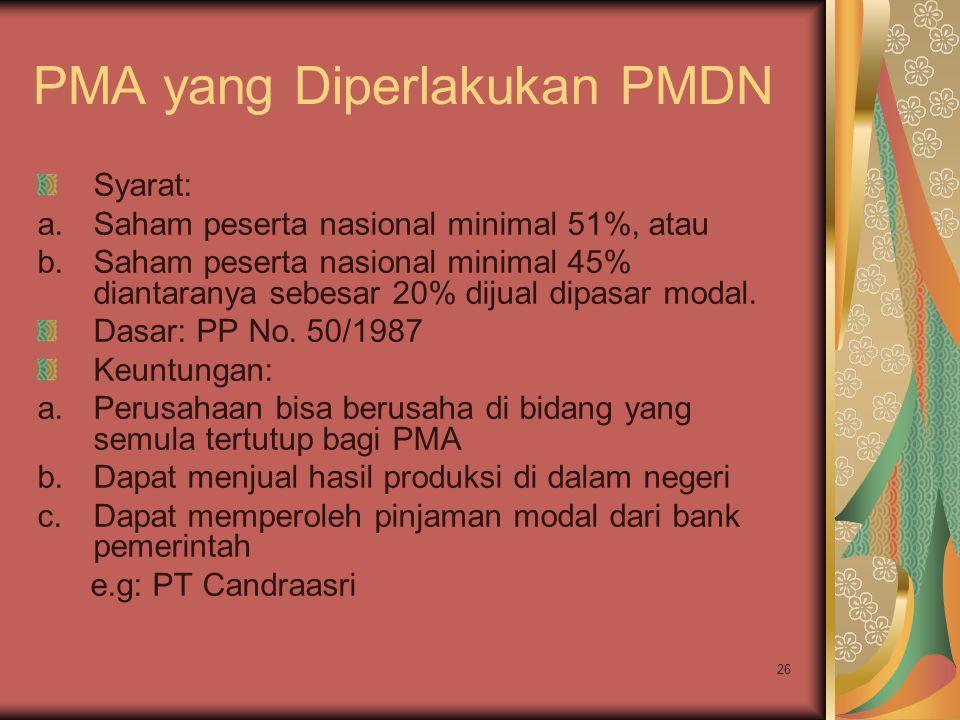 26 PMA yang Diperlakukan PMDN Syarat: a.Saham peserta nasional minimal 51%, atau b.Saham peserta nasional minimal 45% diantaranya sebesar 20% dijual dipasar modal.