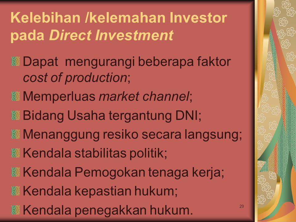 Kelebihan /kelemahan Investor pada Direct Investment Dapat mengurangi beberapa faktor cost of production; Memperluas market channel; Bidang Usaha tergantung DNI; Menanggung resiko secara langsung; Kendala stabilitas politik; Kendala Pemogokan tenaga kerja; Kendala kepastian hukum; Kendala penegakkan hukum.