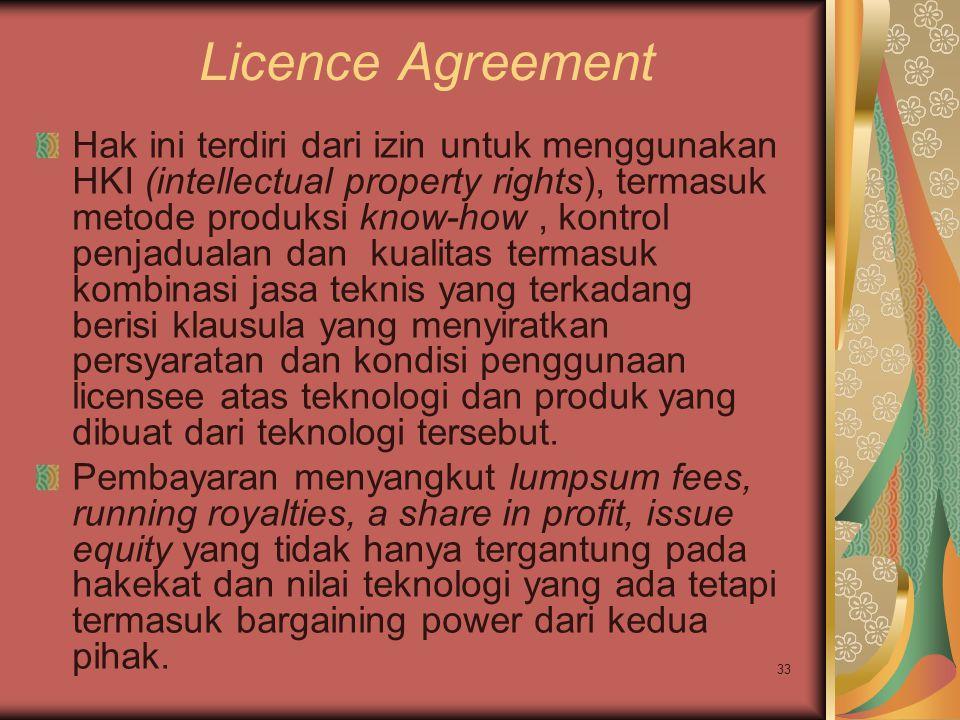 33 Licence Agreement Hak ini terdiri dari izin untuk menggunakan HKI (intellectual property rights), termasuk metode produksi know-how, kontrol penjadualan dan kualitas termasuk kombinasi jasa teknis yang terkadang berisi klausula yang menyiratkan persyaratan dan kondisi penggunaan licensee atas teknologi dan produk yang dibuat dari teknologi tersebut.