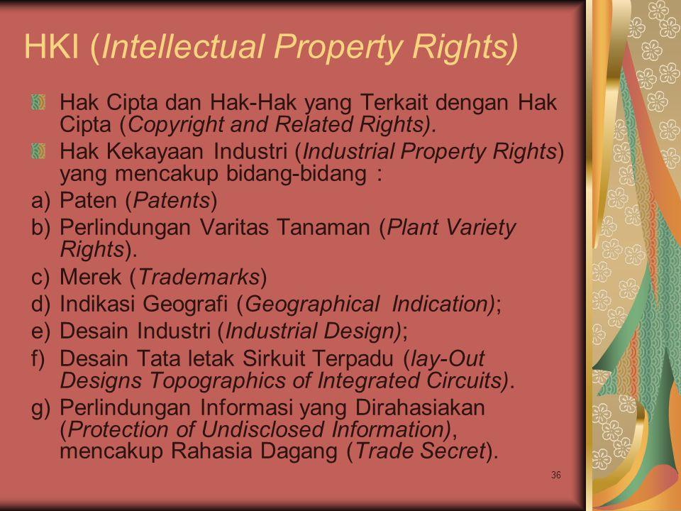 36 HKI (Intellectual Property Rights) Hak Cipta dan Hak-Hak yang Terkait dengan Hak Cipta (Copyright and Related Rights). Hak Kekayaan Industri (Indus