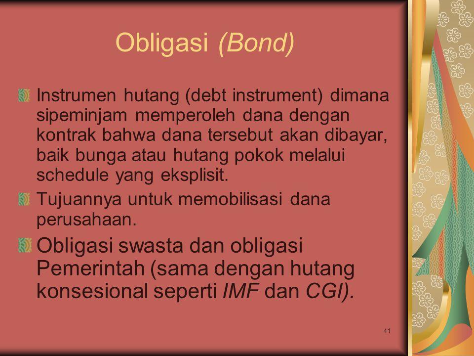 41 Obligasi (Bond) Instrumen hutang (debt instrument) dimana sipeminjam memperoleh dana dengan kontrak bahwa dana tersebut akan dibayar, baik bunga atau hutang pokok melalui schedule yang eksplisit.