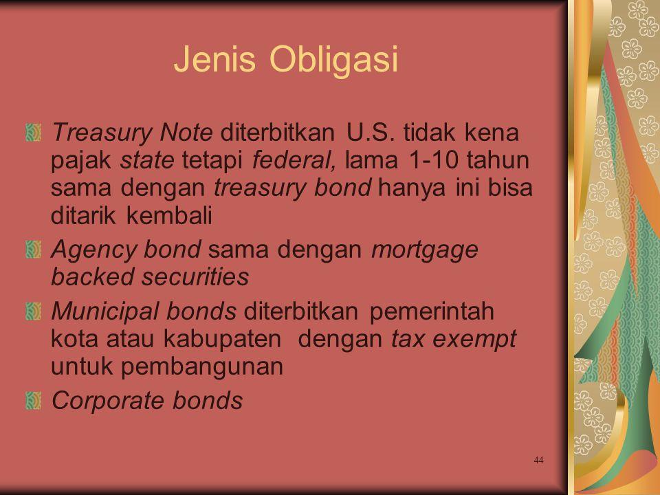 44 Jenis Obligasi Treasury Note diterbitkan U.S. tidak kena pajak state tetapi federal, lama 1-10 tahun sama dengan treasury bond hanya ini bisa ditar