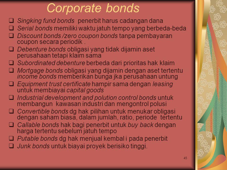 45 Corporate bonds  Singking fund bonds penerbit harus cadangan dana  Serial bonds memiliki waktu jatuh tempo yang berbeda-beda  Discount bonds /zero coupon bonds tanpa pembayaran coupon secara periodik.