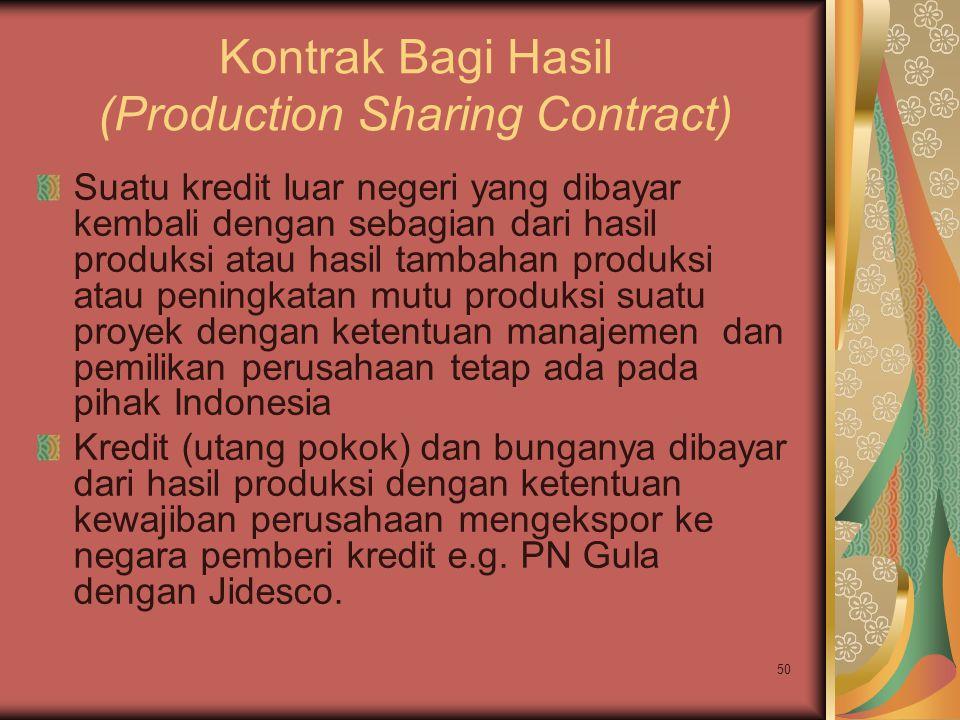 50 Kontrak Bagi Hasil (Production Sharing Contract) Suatu kredit luar negeri yang dibayar kembali dengan sebagian dari hasil produksi atau hasil tamba