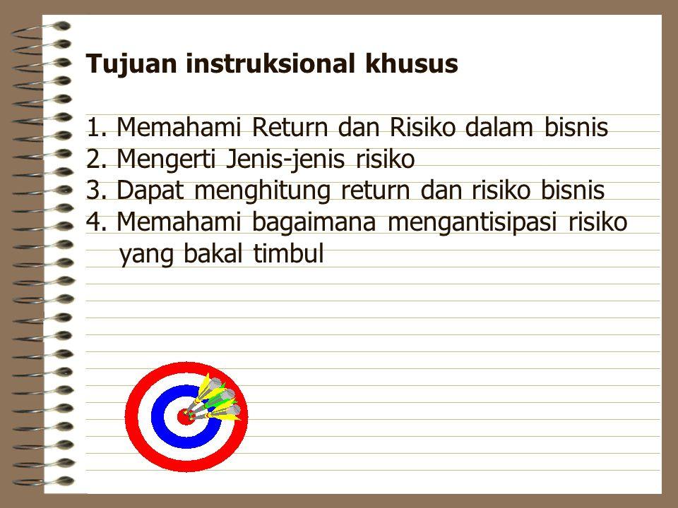 Tujuan instruksional khusus 1.Memahami Return dan Risiko dalam bisnis 2.