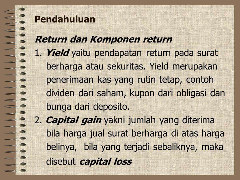 Pendahuluan Return dan Komponen return 1.