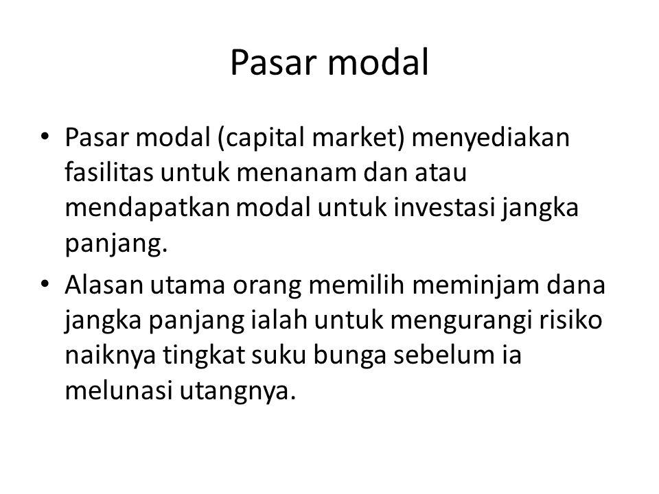Pasar modal Pasar modal (capital market) menyediakan fasilitas untuk menanam dan atau mendapatkan modal untuk investasi jangka panjang. Alasan utama o