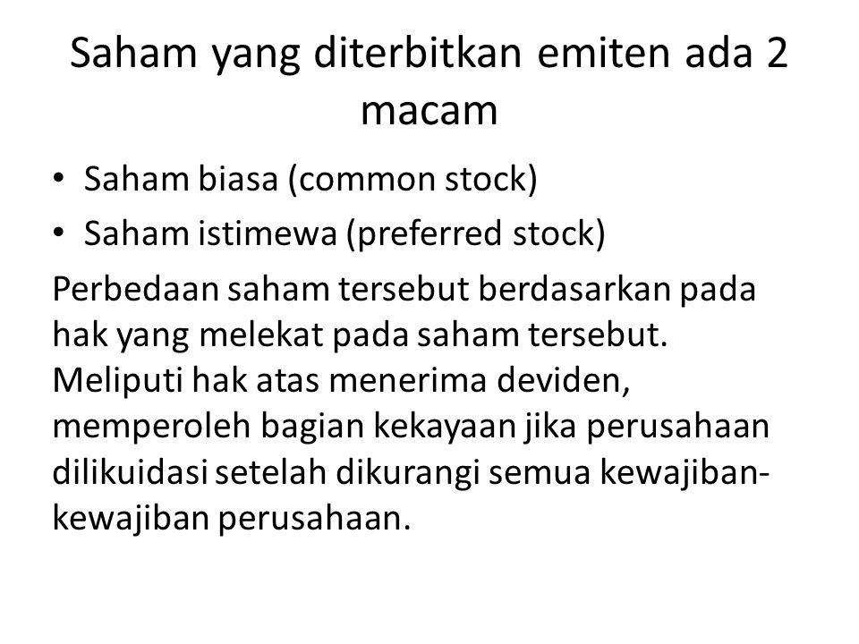 Saham yang diterbitkan emiten ada 2 macam Saham biasa (common stock) Saham istimewa (preferred stock) Perbedaan saham tersebut berdasarkan pada hak ya