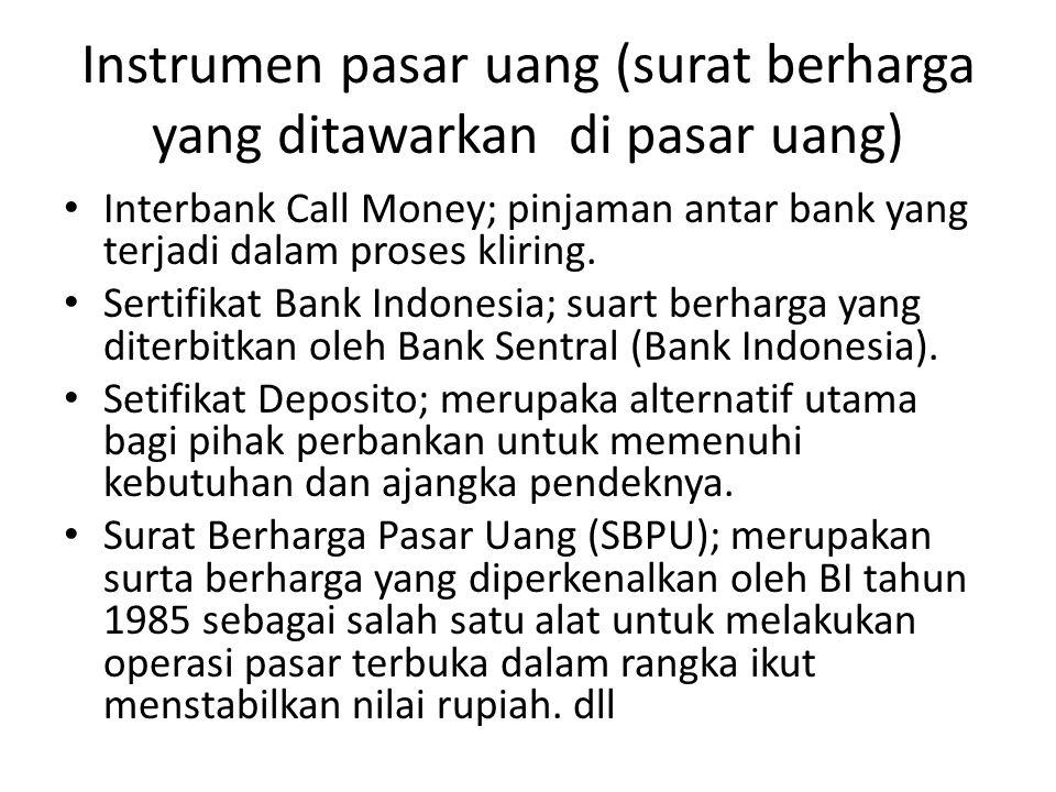 Instrumen pasar uang (surat berharga yang ditawarkan di pasar uang) Interbank Call Money; pinjaman antar bank yang terjadi dalam proses kliring. Serti