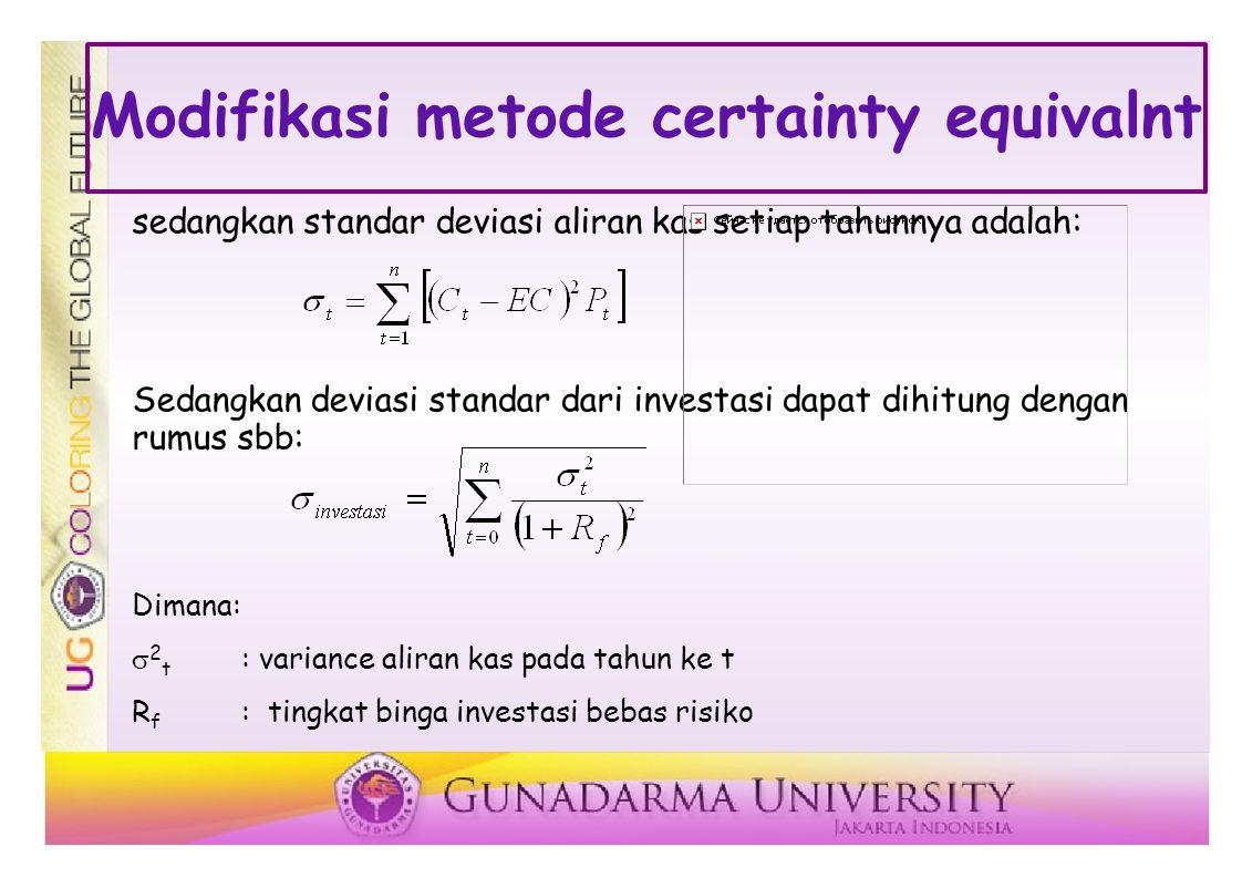 Modifikasi metode certainty equivalnt sedangkan standar deviasi aliran kas setiap tahunnya adalah: Sedangkan deviasi standar dari investasi dapat dihitung dengan rumus sbb: Dimana:  2 t : variance aliran kas pada tahun ke t R f : tingkat binga investasi bebas risiko